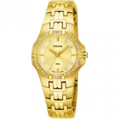 Pulsar Stone Set Champagne Dial Gold Bracelet Ladies Watch PTC390X1