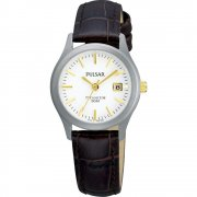 Pulsar Titanium White Dial Brown Leather Strap Ladies Watch PXT921X1