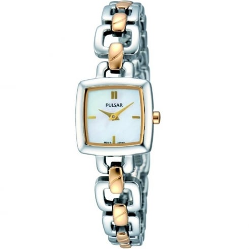 Pulsar White Dial Two Tone Bracelet Ladies Watch PEGG61X1