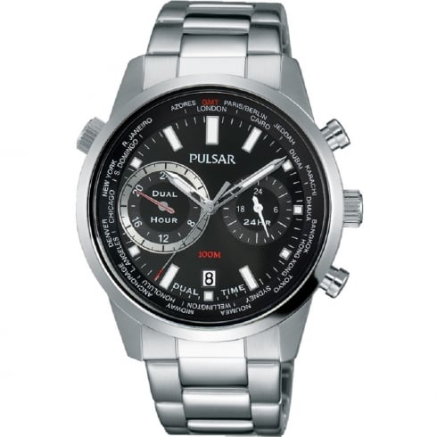 Pulsar World Time Black Dial Stainless Steel Bracelet Gents Watch PY7005X1