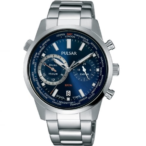 Pulsar World Time Blue Dial Stainless Steel Bracelet Gents Watch PY7003X1