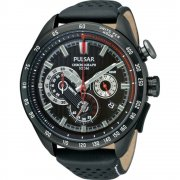Pulsar Wrc black dial chronograph leather strap Mens watch PU2077