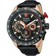 Pulsar WRC Chronograph Black Dial Black Leather Strap Gents Watch PU2066X1