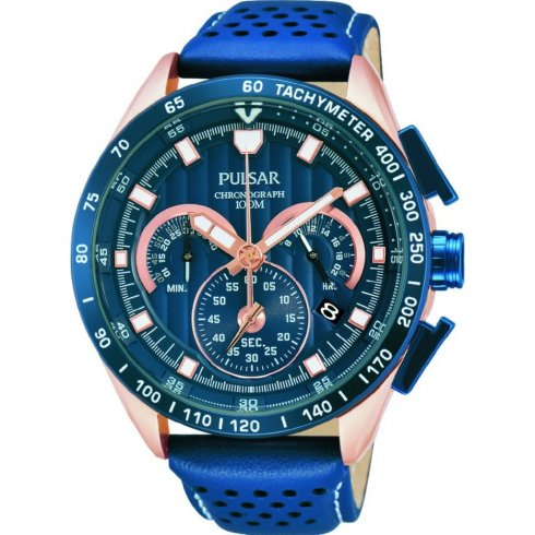 Pulsar WRC Chronograph Blue Leather Strap Mens Watch PU2082X1