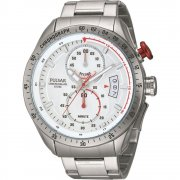 Pulsar Wrc white dial chronograph stainless steel bracelet Mens watch PW4013