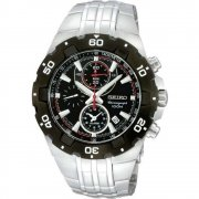 Seiko  black dial chronograph stainless steel bracelet Mens watch SNAD35P1