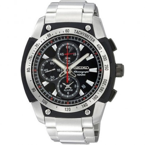 Seiko black dial chronograph stainless steel bracelet Mens watch SNAD47P1