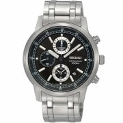 Seiko Chronograph Black Dial Stainless Steel Bracelet Gents Watch SNDC27P1