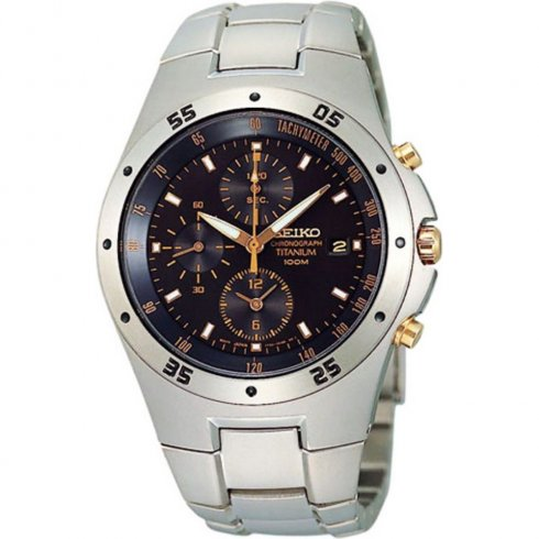 Seiko Chronograph Black Dial Titanium Bracelet Gents Watch SND451P1
