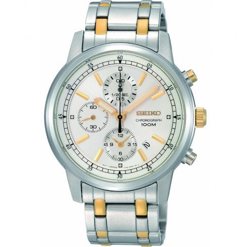 Seiko Chronograph Silver Dial Stainless Steel Bracelet Gents Watch SNDC29P1