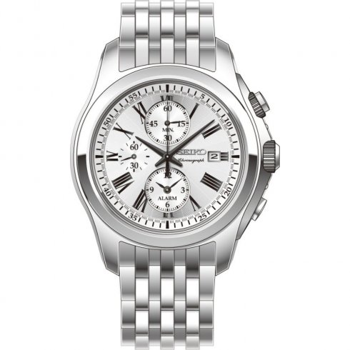 Seiko Chronograph Silver Dial Stainless Steel Bracelet Mens Watch SNAE29P1