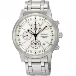Seiko Chronograph White Dial Stainless Steel Bracelet Gents Watch SNDC25P1