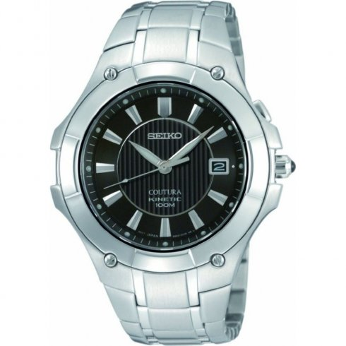 Seiko Coutura Kinetic Black Dial Stainless Steel Bracelet Gents Watch SKA409P1