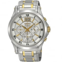 Seiko Premier white dial chronograph stainless steel bracelet Mens watch SPC058P1