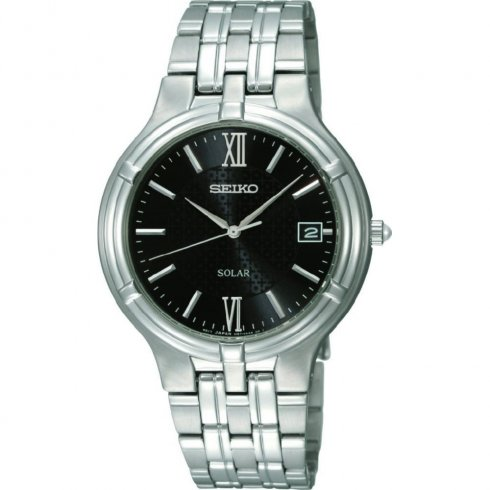 Seiko Solar black dial stainless steel bracelet Mens watch SNE027P1