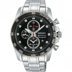 Seiko Sportura black dial chronograph stainless steel bracelet Mens watch SNAE69P1