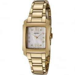 Seiko White Dial Gold Stainless Steel Bracelet Ladies Watch SRZ368P1