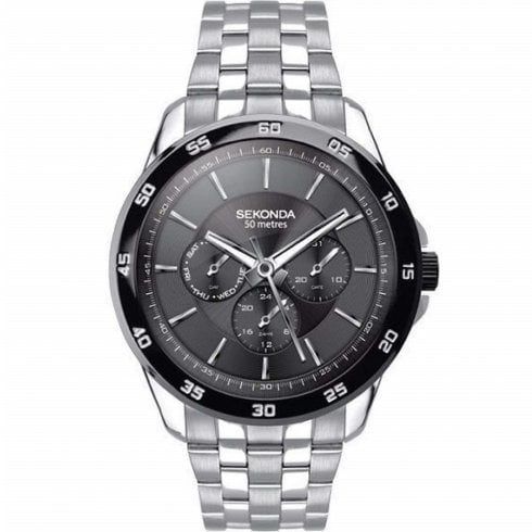 Sekonda Black Dial Stainless Steel Bracelet Gents Watch 1392