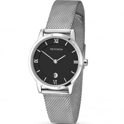 Sekonda Black Dial Stainless Steel Mesh Strap Ladies Watch 2102