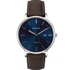 Sekonda Blue Dial Brown Leather Strap Gents Watch 1379