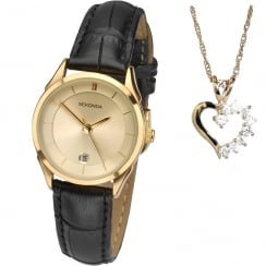 Sekonda Champagne Dial Black Strap Ladies Watch with Heart Pendant 2021P