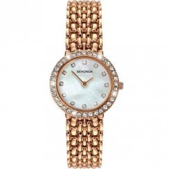 Sekonda Champagne Pearl White Dial Rose Gold Bracelet Ladies Watch 2405