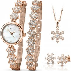 Sekonda Christmas Set White Dial Rose Gold Bracelet Ladies Watch Snowflake Gift Set 2115G