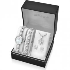 Sekonda Christmas Set White Dial Silver Bracelet Ladies Watch Snowflake Gift Set 2087G