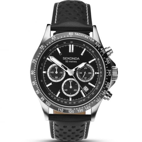 Sekonda Chronograph Black Dial Black Leather Strap Gents Watch 1227