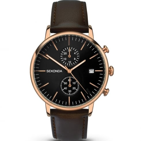 Sekonda Chronograph Black Dial Brown Leather Strap Gents Watch 1380