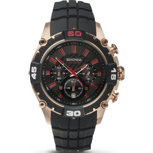 Sekonda Chronograph black dial rubber strap Mens watch 3490