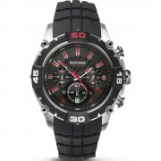 Sekonda Chronograph Black Rubber Strap Mens Watch 3489