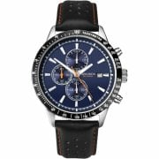 Sekonda Chronograph Blue Dial Black Leather Strap Gents Watch 1377