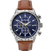 Sekonda Chronograph Blue Dial Brown Leather Strap Gents Watch 1374