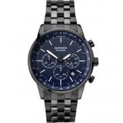 Sekonda Chronograph Blue Dial IP Black Bracelet Gents Watch 1376
