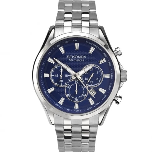 Sekonda Chronograph Blue Dial Stainless Steel Bracelet Gents Watch 1393