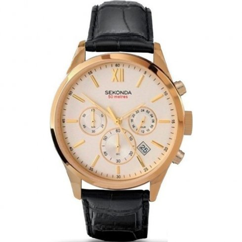 Sekonda Chronograph Champagne Dial Black Leather Strap Mens Watch 3405
