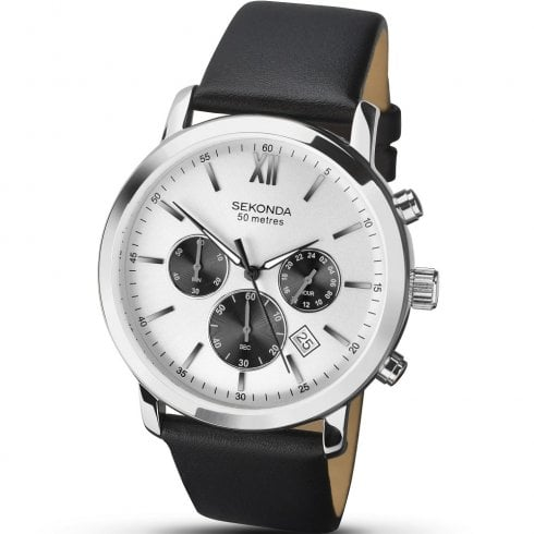 Sekonda Chronograph Silver Dial Black Leather Strap Gents Watch 1205