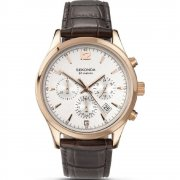 Sekonda Chronograph Silver Dial Brown Leather Strap Gents Watch 3488