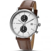 Sekonda Chronograph White Dial Brown Leather Strap Gents Watch 1194