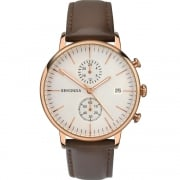 Sekonda Chronograph White Dial Brown Leather Strap Gents Watch 1381