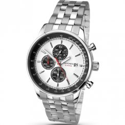 Sekonda Chronograph white dial stainless steel bracelet Mens watch 1048