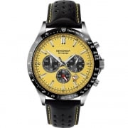 Sekonda Chronograph Yellow Dial Black Leather Strap Gents Watch 1395