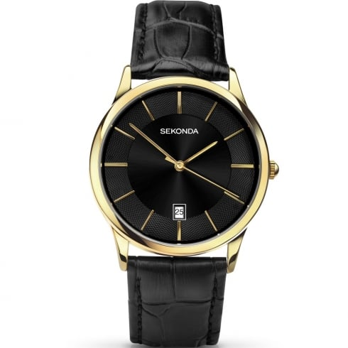 Sekonda Classic Black Dial Black Leather Strap Gents Watch 1370