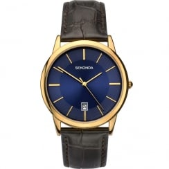 Sekonda Classic Blue Dial Brown Leather Strap Gents Watch 1371