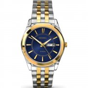 Sekonda Classic Blue Dial Gold Two Tone Stainless Steel Bracelet Mens Watch 1032