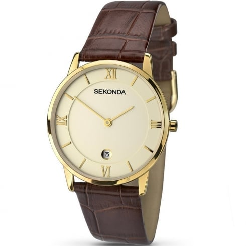 Sekonda Classic Champagne Dial Brown Strap Gents Watch 1041