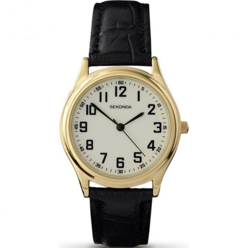 Sekonda Classic Luminous Dial Black Leather Strap Mens Watch 3243