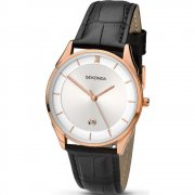 Sekonda Classic Silver Dial Black Leather Strap Mens Watch 1004