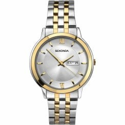 Sekonda Classic Silver Dial Gold Two Tone Stainless Steel Bracelet Mens Watch 1488